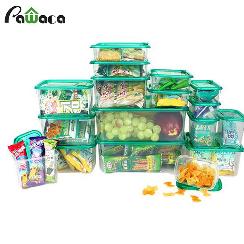 17 pcs plastic food lunch storage 2017 jars fresh fruit meat dry nut storage container microwave. Black Bedroom Furniture Sets. Home Design Ideas