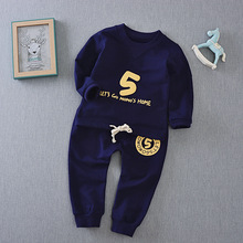 Spring 2017 new children suit long sleeve letter t shirt pants two piece boy suit children