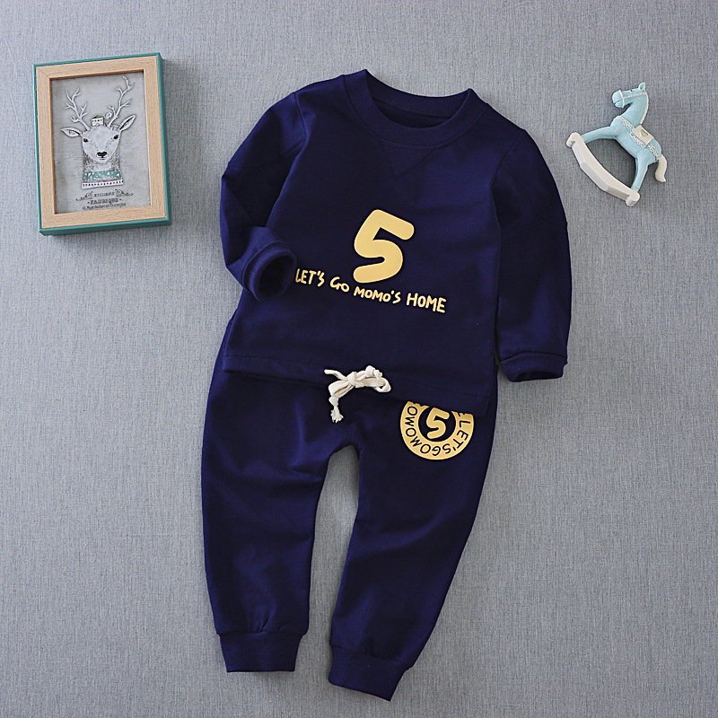 Spring 2017 new children suit long sleeve letter t shirt pants two piece font b boy