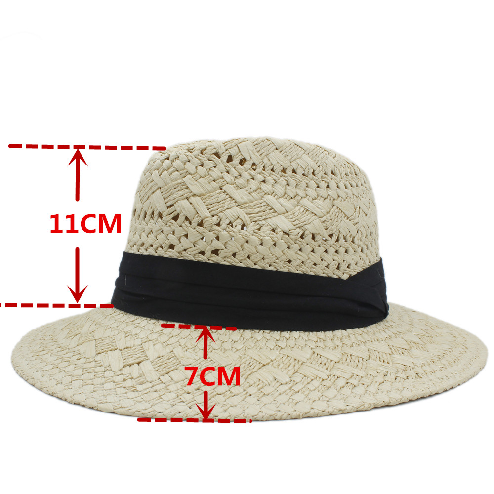c20875d99f824 Handwork Summer Women Men Raffia Straw Sun Hat For Elegant Lady Wide Brim Panama  Hat Gentleman Fedora Cap sunbonnet Beach Hats-in Sun Hats from Apparel ...