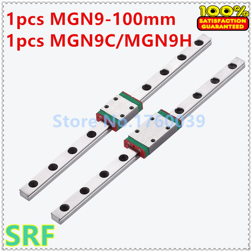 High quality 1pcs 9mm miniature Linear Guide MGN9 L=100mm Linear Rail Way with 1pcs MGN9C or MGN9H Carriage block for 3D Printer 1pcs mgn9 175mm linear rail 1pcs mgn9h carriage