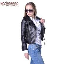 Factory Women Genuine Sheepskin Leather Jacket Brand Design Turn-Down Collar Casual Slim Short Biker Motorcycle Jaqueta ZH066