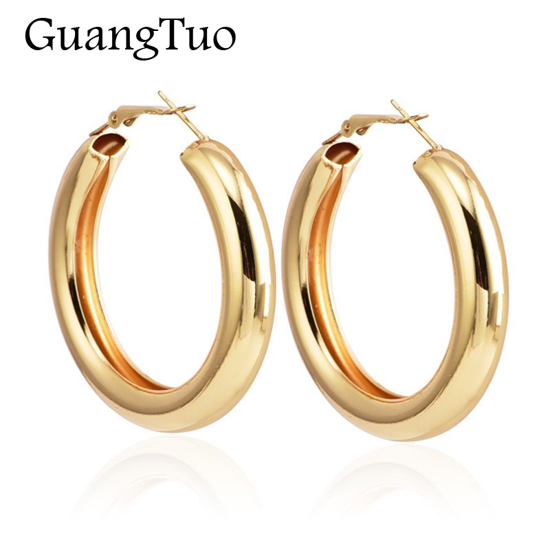 50 MM Gold Color Hoops Earrings Tube Round Circle Statement Earrings For Women Alloy Trendy Rock Punk Brincos Gift EK2183