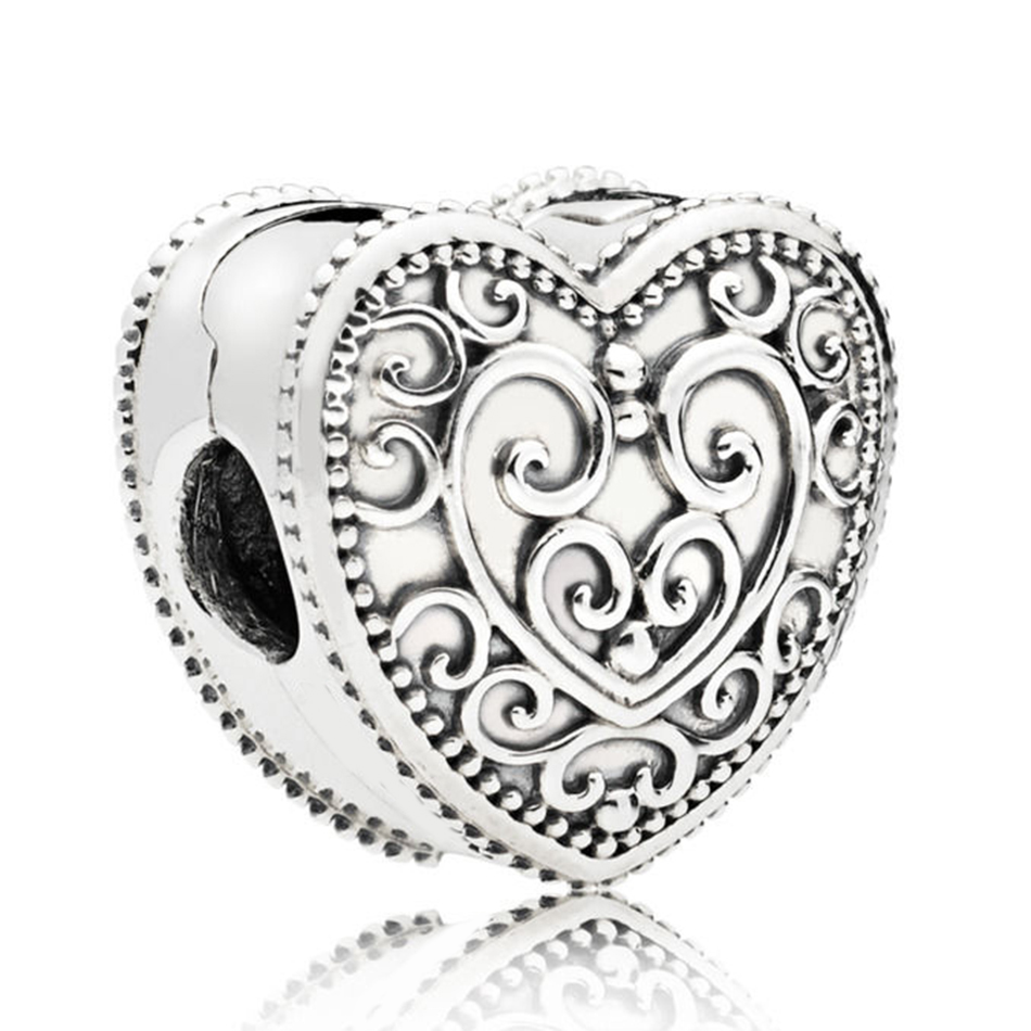 Authentic 925 Sterling Silver Vintage Enchanted Heart Clip Stopper Bead Charm Fit Pandora Bracelet Bangle DIY Jewelry Making