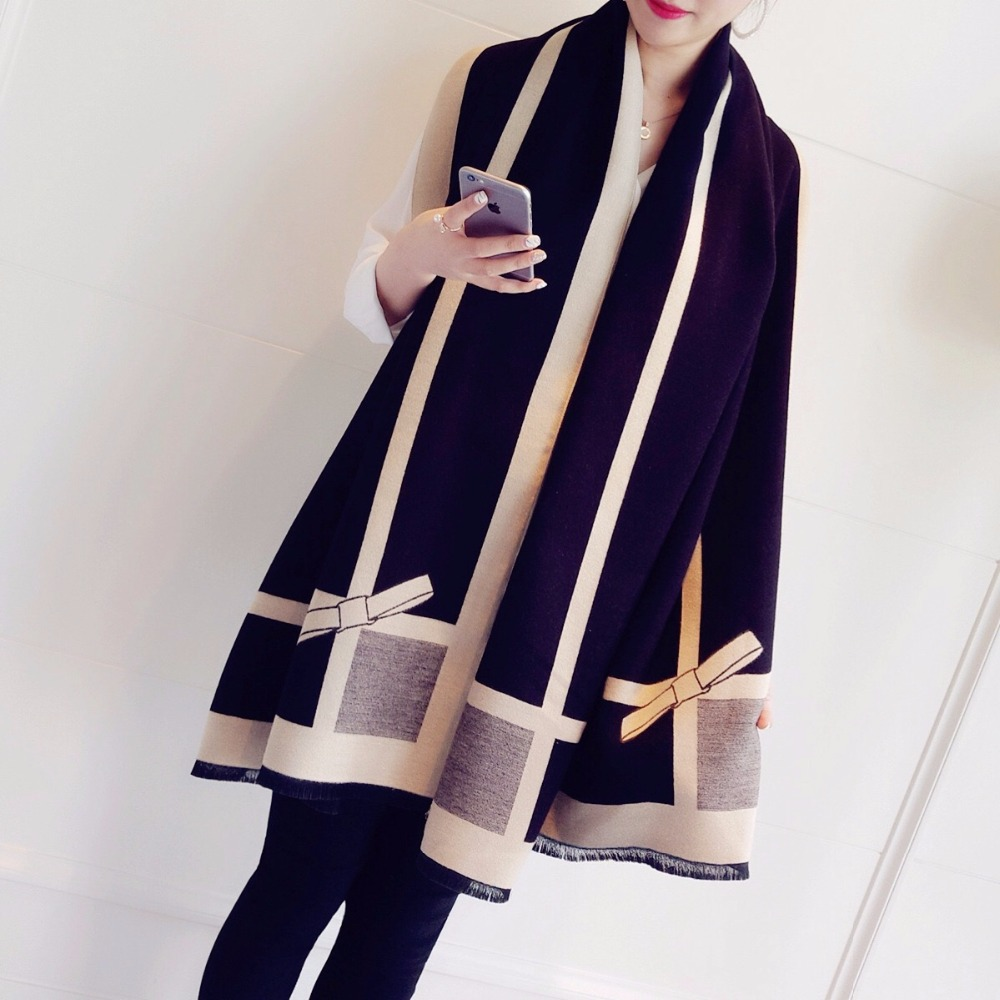 Jinjin QC 2019 New Women 39 s Soft Warm Bowknot Cashmere Fashion Striped Scarf Girls Shawls amp Scarves for Women for winter in Women 39 s Scarves from Apparel Accessories