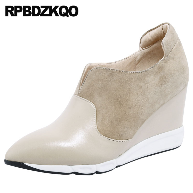Dedo do pé apontado 8cm mulheres nude tamanho 4 34 2018 camurça escritório cunha sapatos senhoras bombas de couro genuíno tornozelo botas de salto médio alta