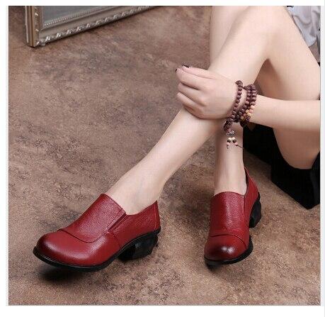 RUSHIMAN New Genuine Leather Shoes Women Flat Fashion Womens Office Black Comfortable Soft Single