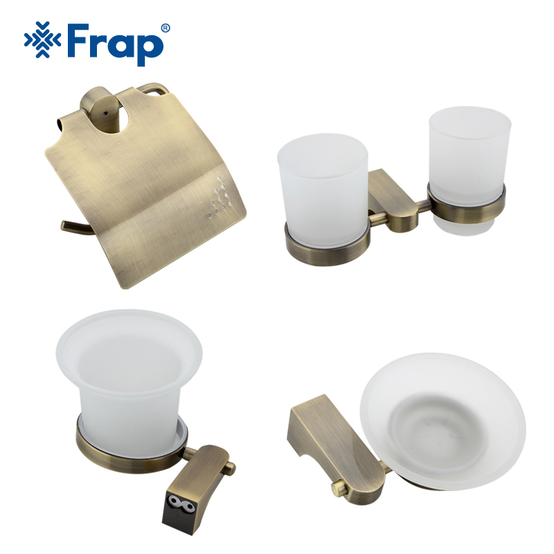 Frap Antique Bronze Cover Toilet Paper Towel Holder Cup Holder Toilet Brush Space Aluminium Bath Accessories 4 Pieces F14T4 y3698 retro napkin towel toilet paper bin basket holder antique brass