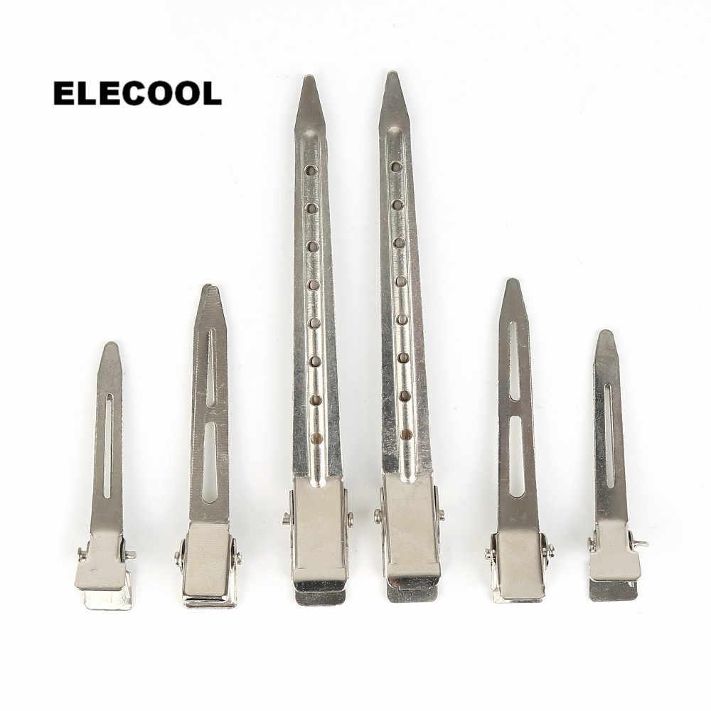 Elecool Stainless Steel Hairdressing Klip Potong Bebek Rambut Pegangan Klem Salon Alat Gaya Rambut Aksesoris 3 Ukuran Opsional