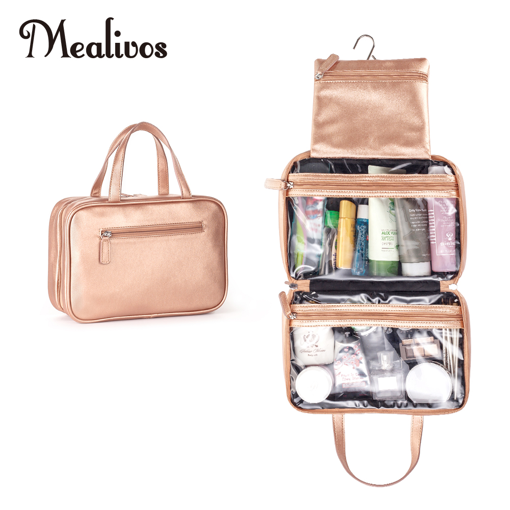 Mealivos Rose Gold Large Versatile Travel Cosmetic Bag - Perfect Hanging Travel Toiletry Organizer
