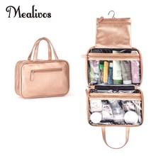Mealivos حقيبة مستحضرات تجميل للسفر متعددة الاستخدامات كبيرة باللون الذهبي الوردي منظم مستحضرات تجميل معلق مثالي للسفر