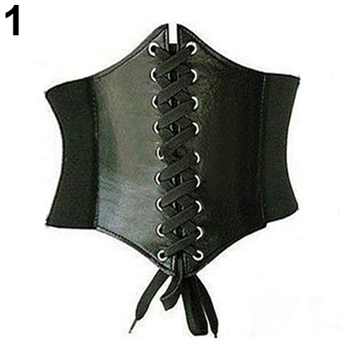 New Sexy Vintage Faux Leather Wide Lace Up Waist Belt Shapewear Corset Body Shaper