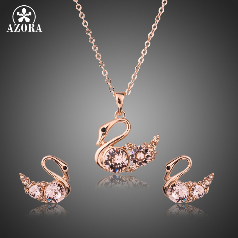 AZORA Brand Link Chain Pink Austria Rhinstone Swan Pendant Necklaces and Earrings Jewelry Sets for Women Christmas Gift TG0233