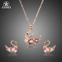 AZORA Brand Link Chain Pink Austria Rhinstone Swan Pendant Necklaces and Earrings Jewelry Sets for Women Christmas Gift TG0233(China)