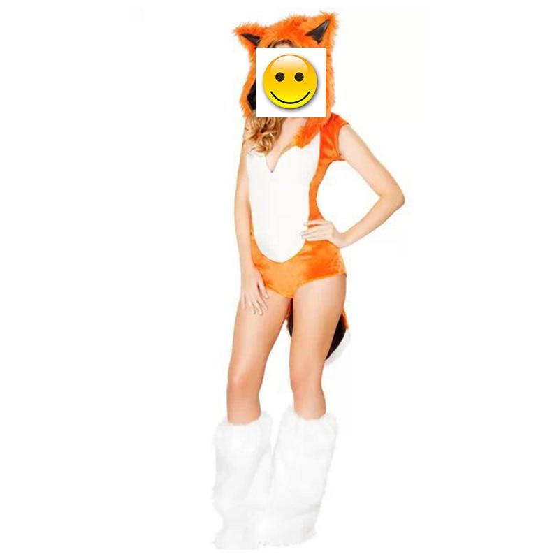 VASHEJIANG Animal Kigurumi Fox Faux Fur Costume Women Halloween Costumes Fancy Party Dress Carnival Sexy Fox Cosplay Outfits