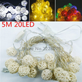 5M 20 LED Rattan Ball LED String Lights AC 110V/220V Holiday Christmas Wedding Party Decor White/Warm White/Colourful Xmas Light