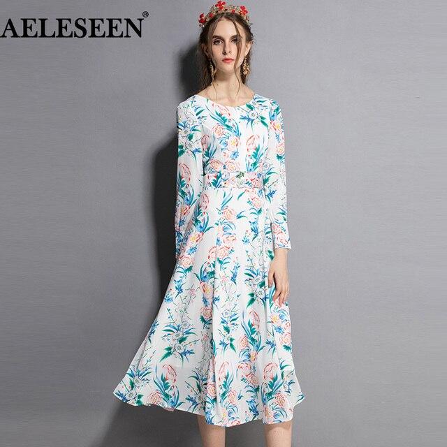 14f664dd2103 AELESEEN Luxury Women'S Dress 2018 Autumn Fashion New Flower Slim Print  Runway XXL Full Sleeve Patchwork Long Elegant Dress