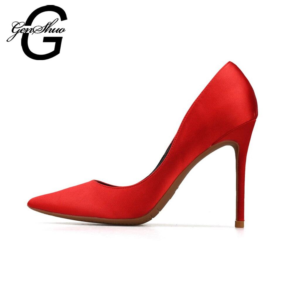 GENSHUO ハイヒールの女性の靴の女性は、ポインテッドトゥ小剣シルク赤結婚式の靴プラススモールビッグサイズ 32  46  グループ上の 靴 からの レディースパンプス の中 1
