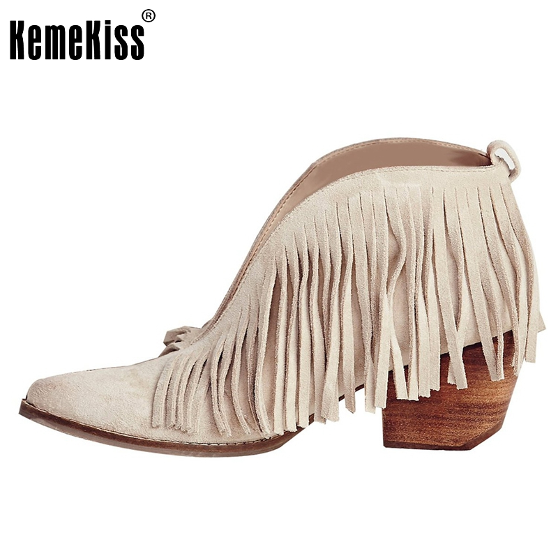 ФОТО Tassel Boots Heels Shoes Women Pointed Toe Fashion Ankle Square Heels Boots Female Vintage Stiletto Boots Shoes Size 35-46 B247