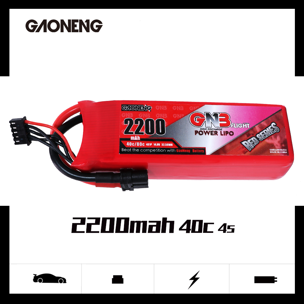 2PCS Gaoneng GNB <font><b>14.8V</b></font> <font><b>2200mAh</b></font> 4S 40C XT60 Plug Lipo Battery for RC FPV Racing Drone Airplane Helicopter image