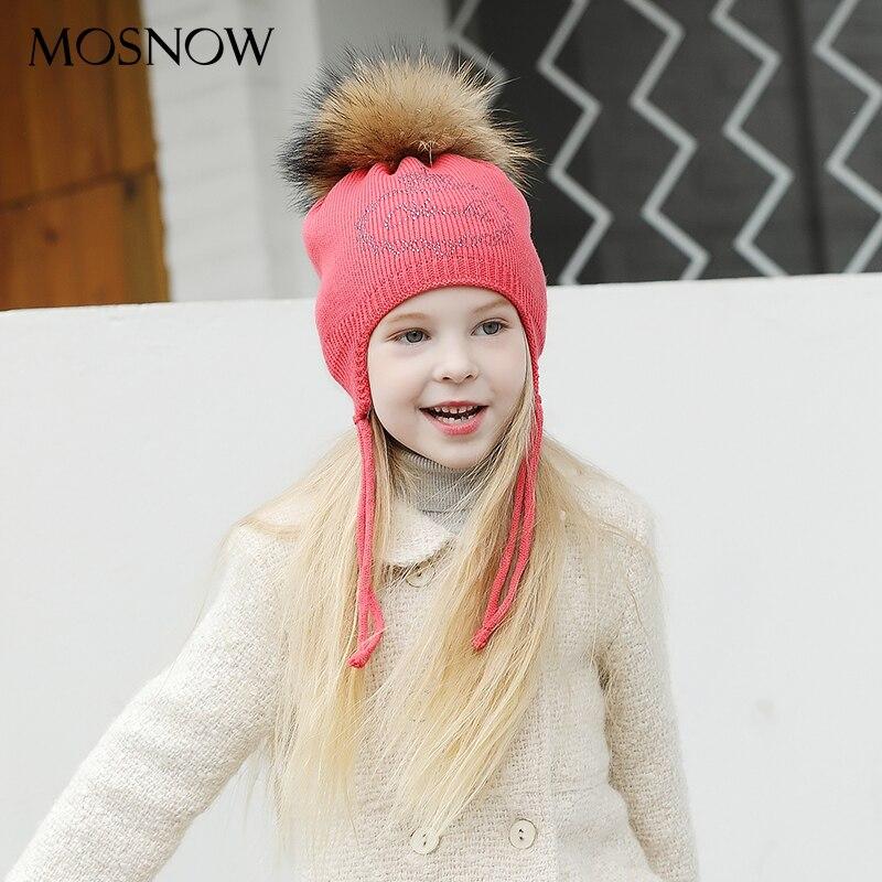 Hats Beanies Pompom Boys Skullies New-Caps Girls Fashion Brand Fur for Lovely Rhinestone