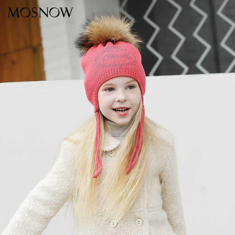 Hats For Girls Boys Lovely Rhinestone Crown Fur Pompom Fashion High Quality 2019 Brand New Caps Skullies Beanies #MZ841