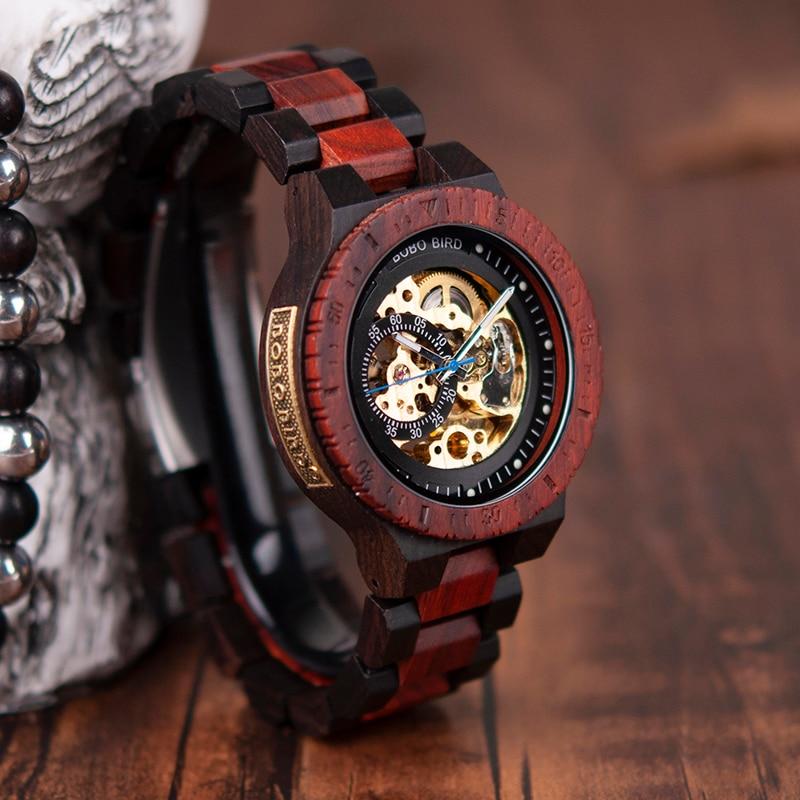 BOBO oiseau de luxe marque montre mécanique bois automatique montre-bracelet hommes montre Relogio Masculino J-R05