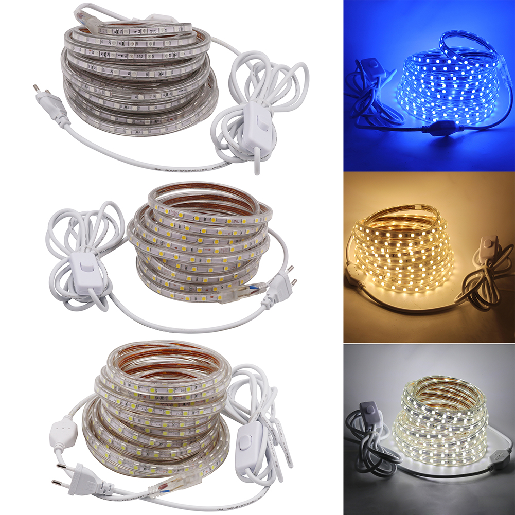 Dimmable 5050 Led Tape 220V Waterproof Flexible led strip 60Leds/m outdoor Garden lighting with 3m ON/OFF Switch EU Power plug 220v 5630 led strip light with dimmer or on off switch waterproof flexible led tape 180leds m outdoor garden lighting eu plug