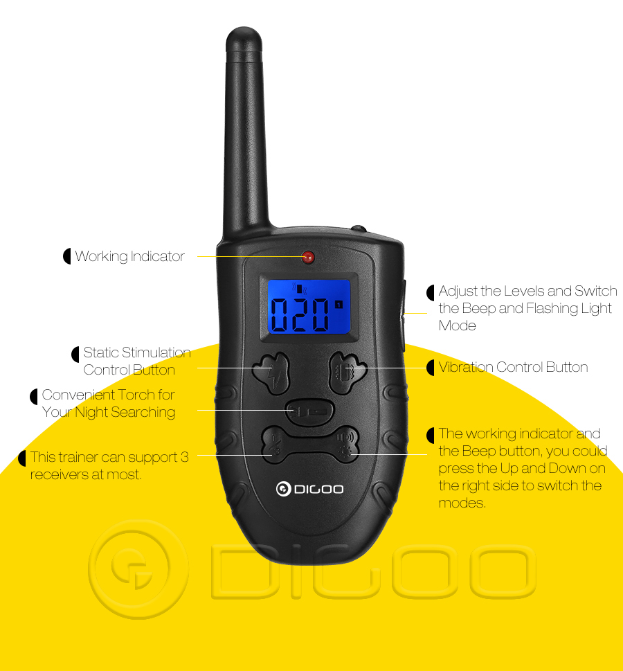 Digoo DG-PPT1 Rechargeable Trainer Waterproof Stop Barking Collars Remote Dog Training Collar