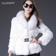 Women Real Winter Rabbit Fur Genuine Leather Jacket Fashion Fur Collar V-neck White and Black Fur Coat  for Women