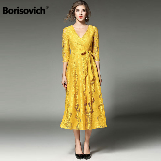fd0968d5707 Borisovich New Arrival 2018 Spring Fashion England Style Vintage V-neck  Yellow Lace Elegant Women Casual Party Dresses M274