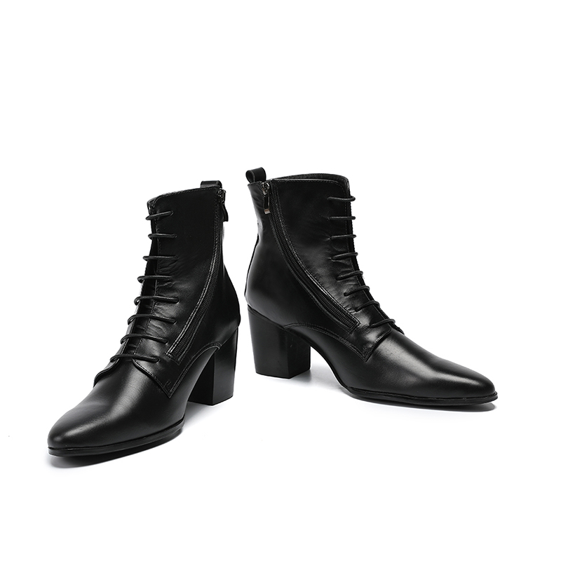 Lace Homens Sapatos Topo Botas Size De Alto 2018 Picture Chelsea Mens Couro Preto Tornozelo Alta Genuína As Picture Salto Militares Chuva Plus Up as 7PdFq