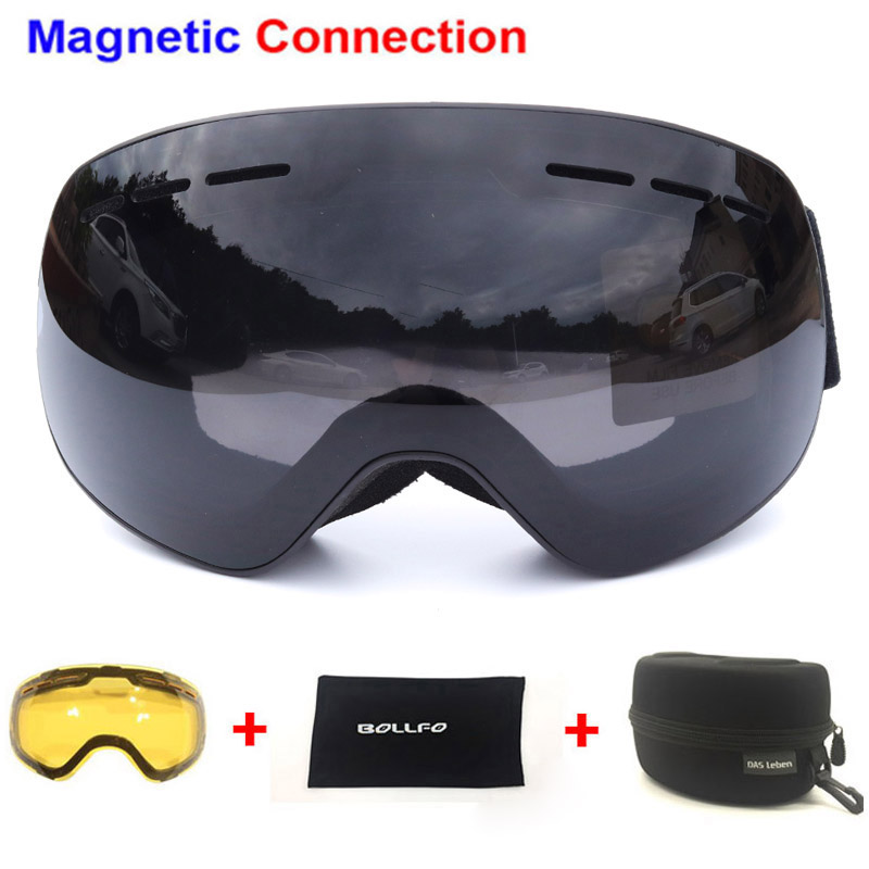 Ski Goggles with Magnetic Double Layers Lens polarized Skiing Anti fog UV400 Snowboard Goggles Men Glasses