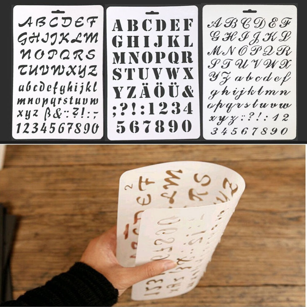 Numero di Lettera di alfabeto Lettera Stencil di Plastica Sottile Vernice di Arte Del Mestiere Del Regalo Del Bambino Giochi di disegno