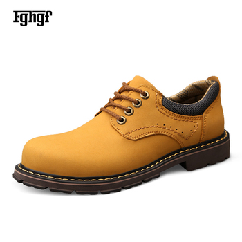 2019 New Genuine Leather Cowhide Leather Men's Martin Boots Rubber Sole Lace-up EU38-44 Quality Design Durable Casual Boots