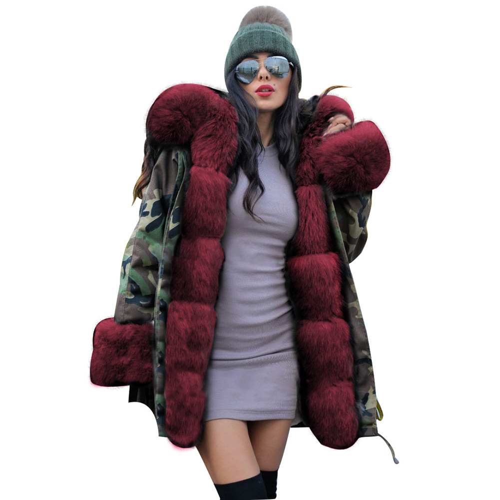 Woman Camouflage   Parkas   Large Faux Raccoon Fur Collar Hooded Coat Outwear Detachable Fake Rabbit Fur Lining Winter Jacket
