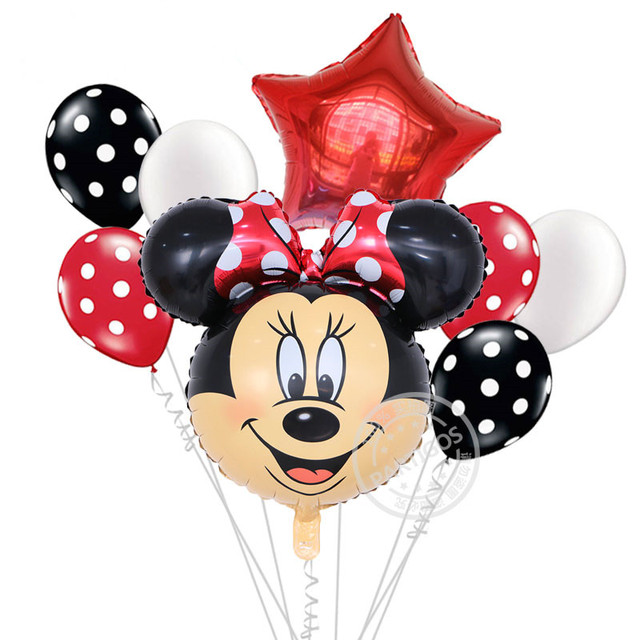 8pcs Minnie Mickey Mouse foil balloon baby shower party supplies cartoon globos kids toys for happy birthady party decorations
