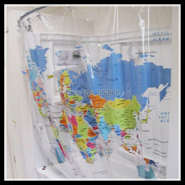 Hot Sale Clear Pvc World Map Shower Curtain Trendy Educational Geography Bathroom Supplies Vinyl Water