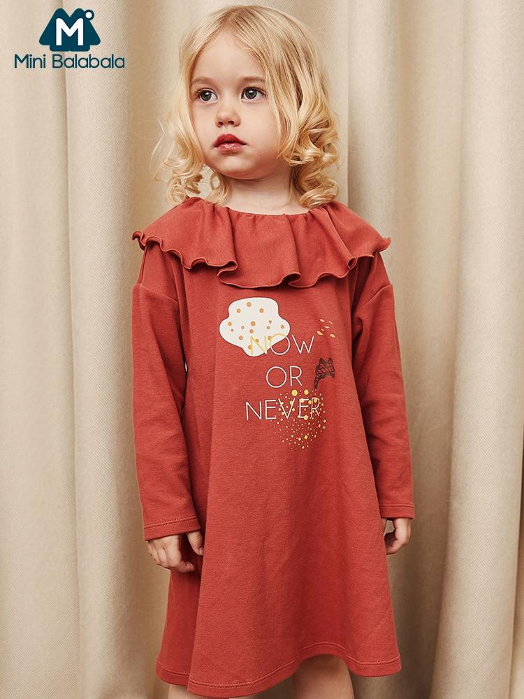 MiniBalabala/детское Полосатое платье трапециевидной формы для девочек Детские платья с оборками для маленьких девочек с цветочным принтом и воротником с длинными рукавами