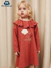 MiniBalabala ילדי בנות פסים אונליין שמלת נע בעצבנות ילדים פעוט בנות גרפי שמלות עם להתנפנף צווארון ארוך שרוול