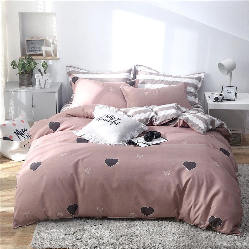 열 대 잎 plaids 기하학적 4pcs 침대 커버 세트 만화 duvet 커버 침대 시트 및 pillowcases 이불 침구 세트 61001