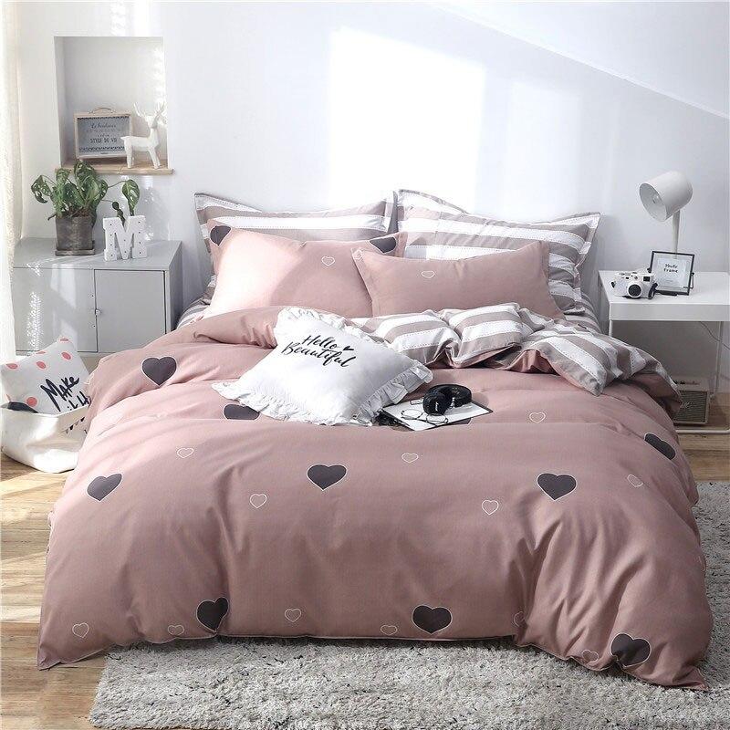 Tropikal yaprak ekose geometrik 4 adet yatak yatak örtüsü seti nevresim çarşaf ve yastık kılıfı yorgan nevresim takımı 61001
