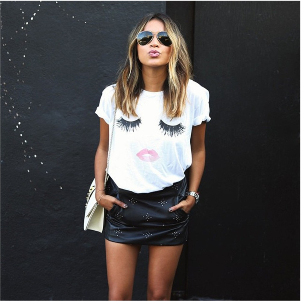 Fashion Women Fashion: New Summer Fashion Eye Lashes Red Lips Loose T Shirts