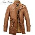Зима PU Кожаная Куртка мужчины длинная шерсть кожа Стоячим Воротником Куртки Пальто Тренч куртка мужская кожаные куртки и пальто