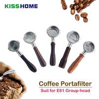 Espresso Coffee Bottomless Portafilter E61 Group-head 58MM Coffee Machine Solid Wooden Handle 304 Stainless Steel Coffee Tools