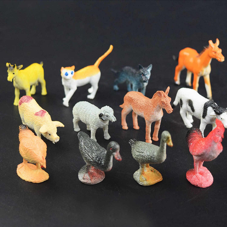 Дети 12 шт. мини моделирование пластиковые фермы животные лошадь курица овца кошка для разделывания свиньи, утки шаблон коровы развивающие игрушки