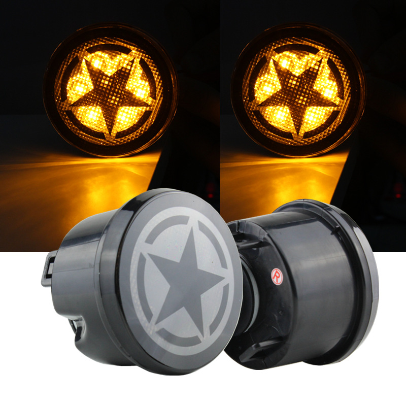 For 2007-2017 Jeep Wrangler JK & WRANGLER Unlimited LED Smoker Turn Signal Light And JK Fender Flare Light Amber Color Five Star