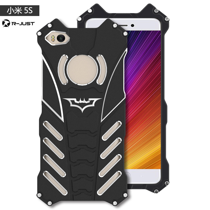 R-JUST Armor Heavy Duty Cases For Xiaomi mi 5S plus Metal Aluminum BATMAN protect Skeleton head phone case for Xiaomi 5S+bracket
