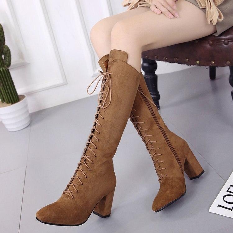 Sexy D'hiver Bottes Le marron Nouvelle Noir À Chaussures Botte Genou En Femmes Sur 2018 Talons Daim Cuir Chaud Hauts Pompes qzxZ8wCwY