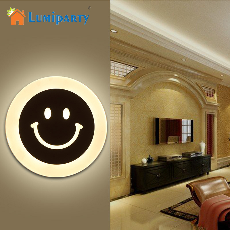 LumiParty LED Creative Smile Face Wall Lamp Simple Kids Cartoon Bed Room Light Ultra-thin Acrylic Porch Aisle Lanterns PassageLumiParty LED Creative Smile Face Wall Lamp Simple Kids Cartoon Bed Room Light Ultra-thin Acrylic Porch Aisle Lanterns Passage